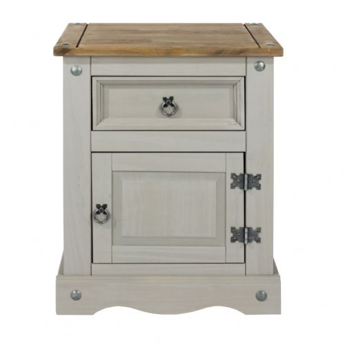 Premium Corona Grey Wash 1 Door and Drawer Bedside